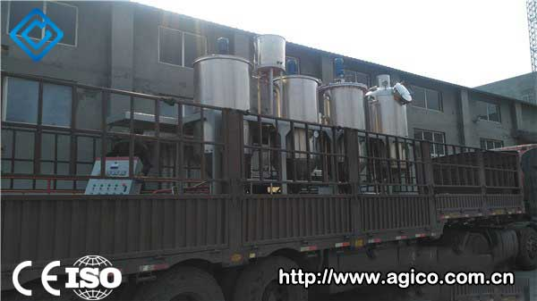 Peanut oil refining production line equipment in transit.